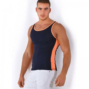 Roberto Lucca Two Tone Tank Top T Shirt Deep Blue/Neon Orange 80002-81800