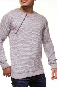Carisma Side Zipper Long Sleeved 9501-1 Sweater Light Grey