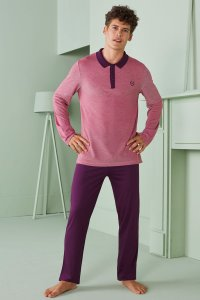 Doreanse Contrast Polo Long Sleeved Shirt & Pants Set Lounge...