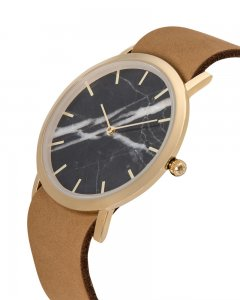 Analog Watch Classic Black Marble Dial & Tan Strap Watch GT-...