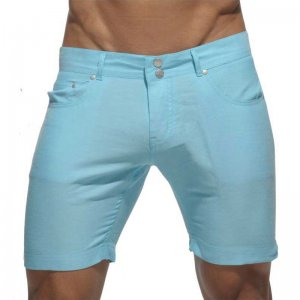 Addicted Cotton Blend Shorts Turquoise AD247