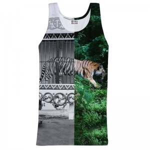 Mr. Gugu & Miss Go Tiger Cage Unisex Tank Top T Shirt TT650