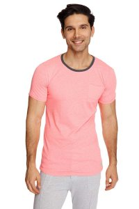 4-rth Perfect Pocket Short Sleeved T Shirt Coral Slub