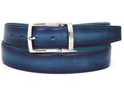 Paul Parkman Two Tone Leather Belt Blue & Turquoise B01-BLU-...