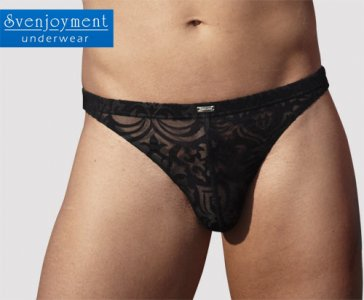 Svenjoyment Transparent Filigree Thong Underwear Black 2110695