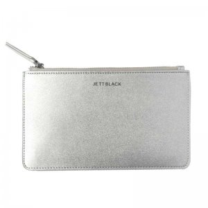 Jett Black Jett Metallic Leather Pouch Wallet Silver