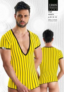 Eros Veneziani Stripe Deep V Neck Short Sleeved T Shirt Yellow 7147