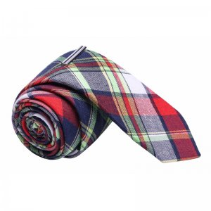 Skinny Tie Madness Amy Ammunition Plaid Skinny Tie & Tie Cli...