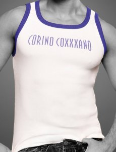 Coxxxano Sporty Piping Logo Tank Top T Shirt White/Blue 4057...