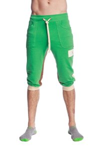 4-rth Tri Color Edge Cuffed Yoga 3/4 Pants Bamboo Green/Sand/Chocolate