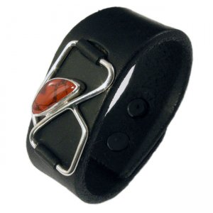Metro Mod Man Kentucky Agate Red Leather Cuff Armband MB-AGS...
