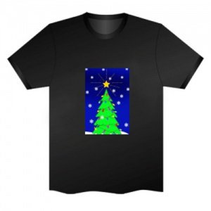 LED Electro Luminescence Christmas Tree Funny Gadgets Rave Party Disco Light T Shirt 13290