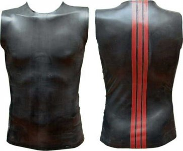 Mister B Rubber Stripe Back Muscle Top T Shirt Red 300730