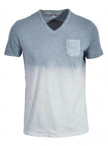 Spazio Laurier V Neck Short Sleeved T Shirt Grey T-4015