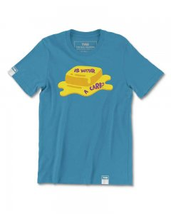 The Well Branded Is Butter A Carb? 100% Cotton Classix Short Sleeved T Shirt Mosaic Blue