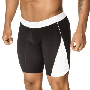 PPU Mesh Panel Long Leg Boxer Brief Underwear Black/White 1402