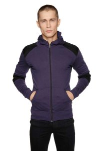 4-rth Crossover Zipper Hoodie Sweater Eggplant/Black
