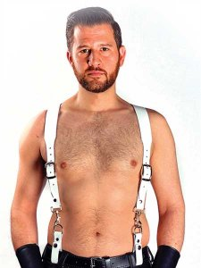 Mister B Leather Basic Combi Harness Braces White 601115