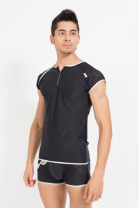 Lookme Mixing Short Sleeved T Shirt Black 43-77