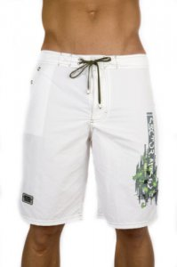 ES Collection Surfer Bermuda Boardshorts Beachwear White/Green 1014
