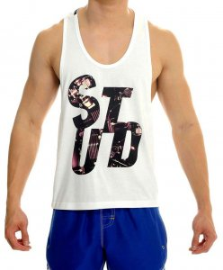 STUD Athletic Carver Tank Top T Shirt White