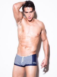 N2N Bodywear Nautique Square Cut Trunk Swimwear Navy PT3