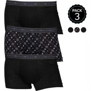 Marginal [3 Pack] Boxer Brief Underwear Black & Printed T011-1