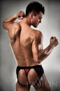 Passion Lingerie Side Mesh Jock Brief Jock Strap Underwear Red/Black 007