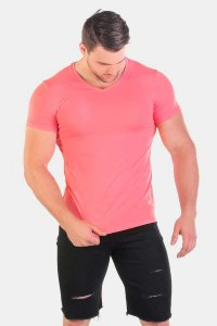 Jed North Razor Cut V Neck Short Sleeved T Shirt Pink JNTOP014