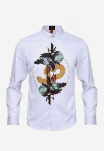Spy Henry Lau Numbers & Floral Long Sleeved Shirt White PH79...