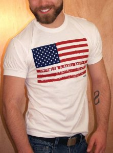 Ajaxx63 Athletic Fit American Flag Short Sleeved T Shirt White AS72