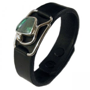 Metro Mod Man Lightning Ridge Opal Leather Cuff Armband MB-L...
