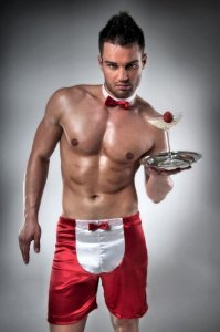 Passion Lingerie Waiter Costume Loose Boxer Shorts Red/White 019