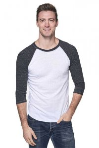 Royal Apparel Unisex Triblend Raglan Baseball Long Sleeved T Shirt Tri White/Tri Onyx 20060