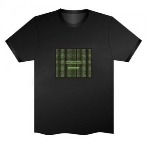 LED Electro Luminescence Matrix Dot Funny Gadgets Rave Party Disco Light T Shirt Black 32041