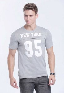 Spy Henry Lau Number Cotton Knit Short Sleeved T Shirt Grey PH498MKN