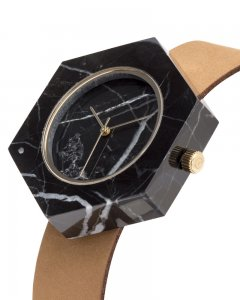 Analog Watch Mason Hexagon Black Marble Body & Tan Strap Watch GT-BX