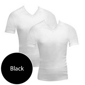 [2 Pack] Bonds V Neck Raglan Short Sleeved T Shirt Black