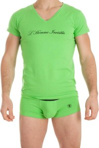 L'Homme Invisible Solid V Neck Short Sleeved T Shirt Green MY91-BAS-004