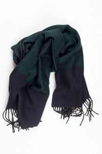 L'Homme Invisible Herringbone 100% Wool Scarf Green/Navy 105...