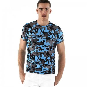 Roberto Lucca Slim Fit Camo Short Sleeved T Shirt Blue 90218-11133