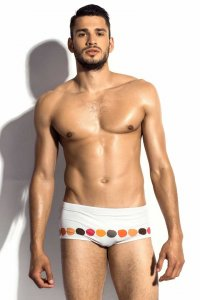 m8mate 80's Square Cut Trunk Swimwear White