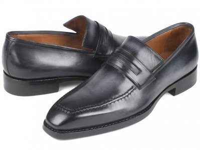 Paul Parkman Burnished Goodyear Welted Loafer Shoes Grey 37L...