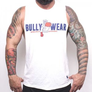 Bullywear Boxer Logo Muscle Top T Shirt White S-ST106HS