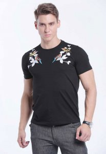 Spy Henry Lau Embroidery & Print Short Sleeved T Shirt Black PH498MTE