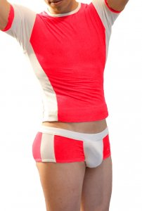 Icker Sea Matching T Shirt & Boxer Brief Set Red & White COR-16-08