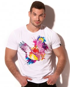 Alexander Cobb Icarus Rainbow Short Sleeved T Shirt White 5C...
