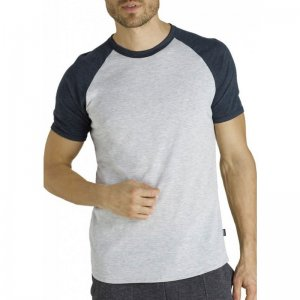 Bonds Raglan Fashion Short Sleeved T Shirt Grey Marle/Black AZREI