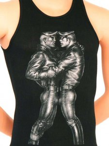 Tom Of Finland Leather Duo Tank Top T Shirt Black