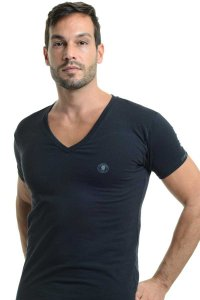 L'Homme Invisible Organic Cotton V Neck Short Sleeved T Shirt Black MY61-PER-001